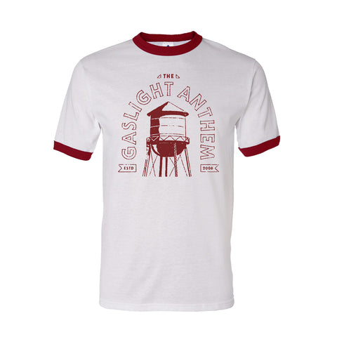 The Gaslight Anthem | Gas Station Ringer T-Shirt - White/Red