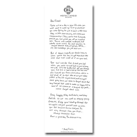"Andy Frasco | 24X9 ""Letters to a Friend"" Poster - #1 in Series"