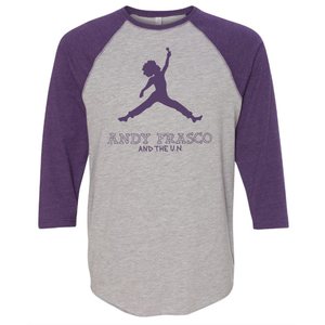 Nike Air logo with Andy Frasco on a Grey and Purple Raglan
