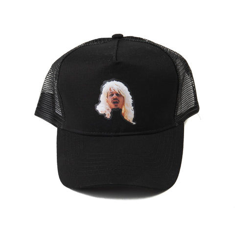 black trucker hat with eric andre image on the front