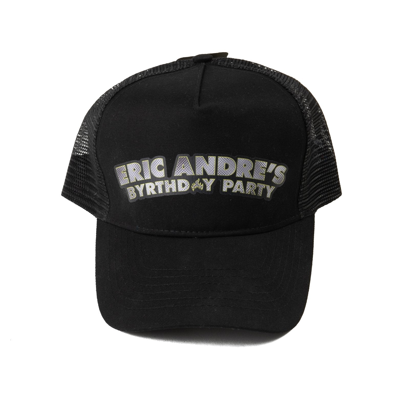 black trucker cap with eric andre birthday design