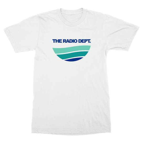 "Radio Dept ""Waves"" Design in green and blue scheme on a white t-shirt"