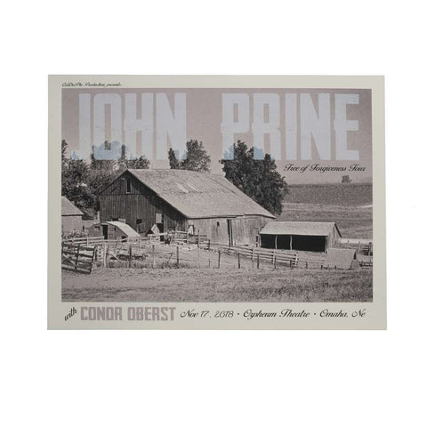 Screen printed poster of a farm with John Prine printed on the top. Conor Oberst concert information at the bottom