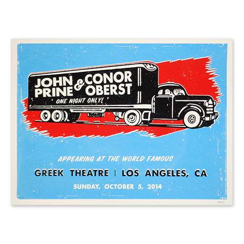 Blue poster with a black truck in the middle. John Prine and Conor Oberst written on the side. Concert information at the bottom of the poster.