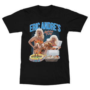 Black Canvas t-shirt featuring a 7 color print of Eric Andre in a bikini holding a pig.