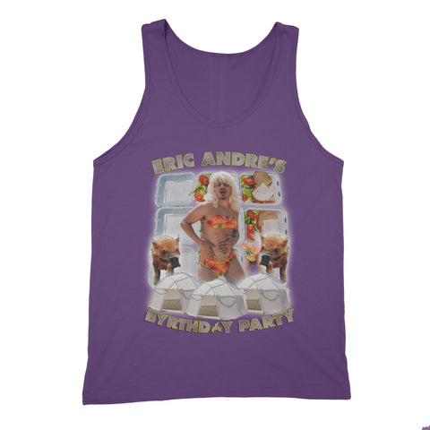 purple unisex tank with Eric Andre birthday party design.