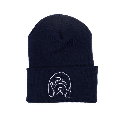 Hannah Gadsby's Douglas Embroidered Navy Beanie