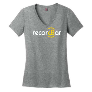 Recordbar logo on grey women's v-neck t-shirt