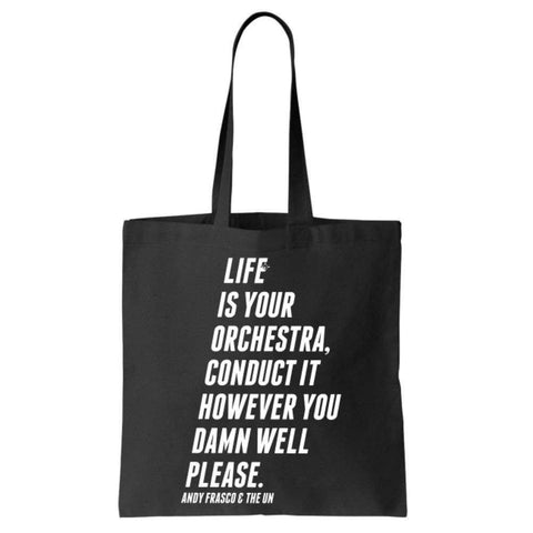 Black tote back with white Andy Frasco and the UN quote