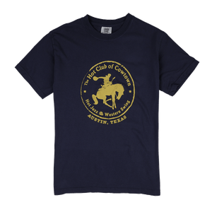 Hot Club of Cowtown | Blue T-Shirt w/ Yellow Horse Logo