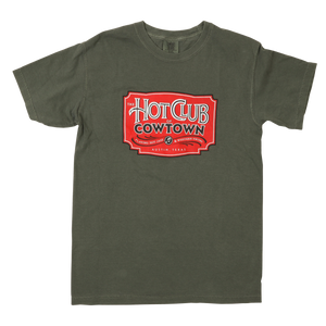 Hot Club of Cowtown | Mossy Green T-Shirt w/ Vintage Logo