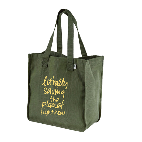Ilana Glazer | Lit'rally Saving the Planet Right Now Organic Hemp Tote - Olive