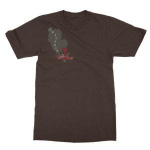 Criteria Plane Crash T-Shirt is a brown tee that has a grey cloud spelling out criteria coming out of a red crashing plane