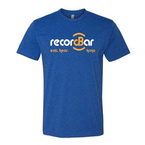 blue t-shirt with white and yellow record bar logo