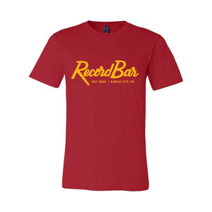 red t-shirt with yellow script RecordBar logo
