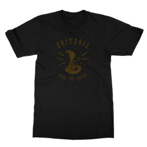 Criteria Ride the Snake T-Shirt is a black tee with a gold cobra snake in the middle. Above the snake it says criteria and below it says ride the snake