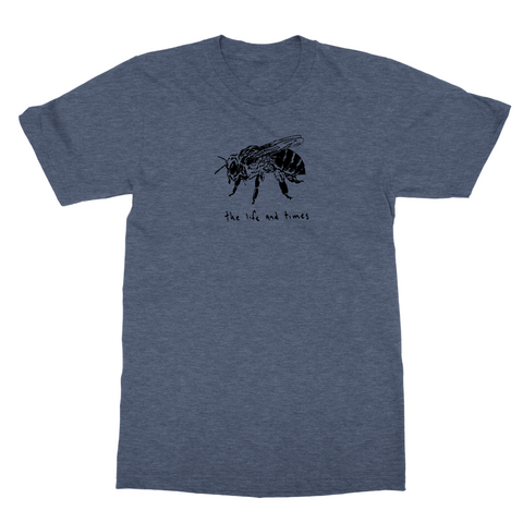 Blue Heathered Single Bee t-shirt from The Life and Times