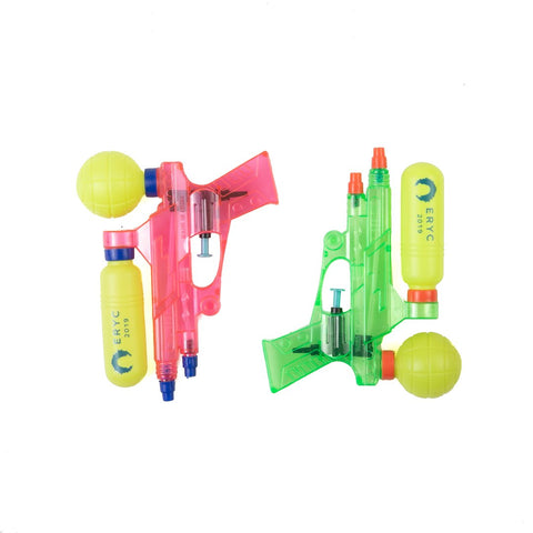 two squirt-guns one pink and one green. both feature the eric andre birthday design