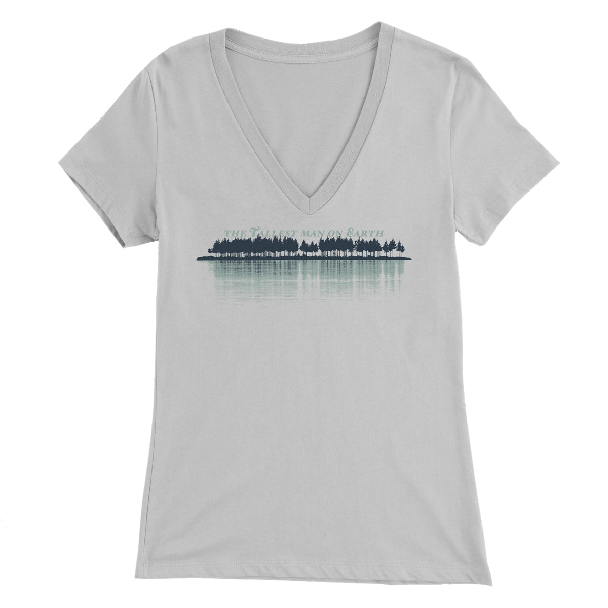 Tallest Man on Earth Womens Silver V-neck tee with tree line design