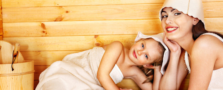 Mother and child in sauna
