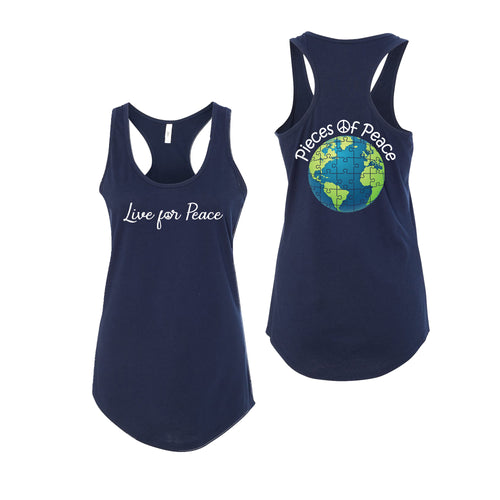 Live For Peace Racerback Tank Top - Navy