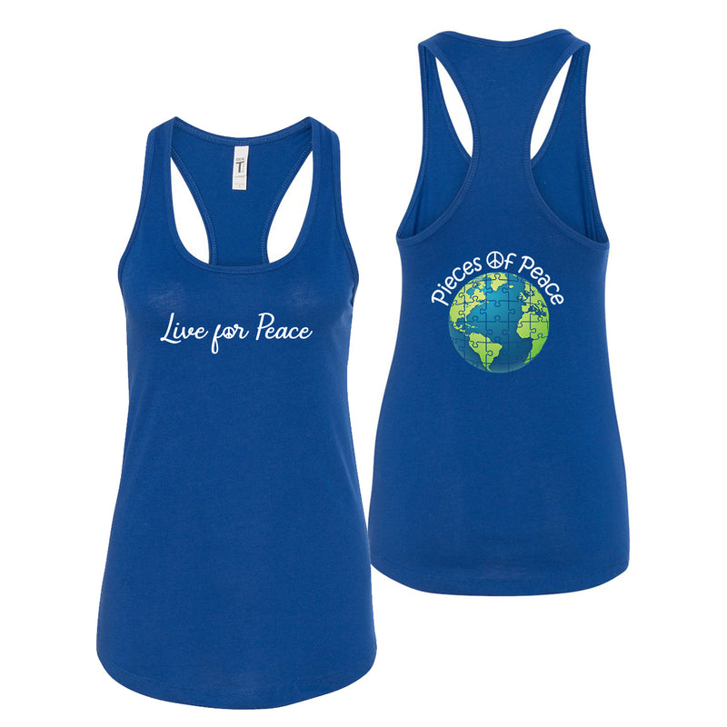 Live For Peace Racerback Tank Top - Royal