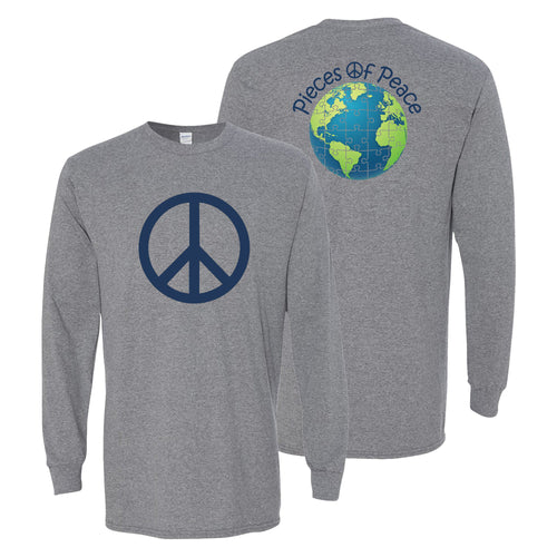 Peace Sign Unisex Long-Sleeve T-shirt - Graphite Heather