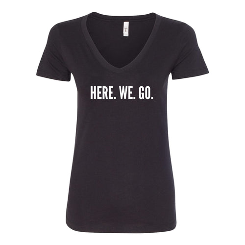 Here We Go Center Chest Logo V-neck Ladies T-shirt - Black