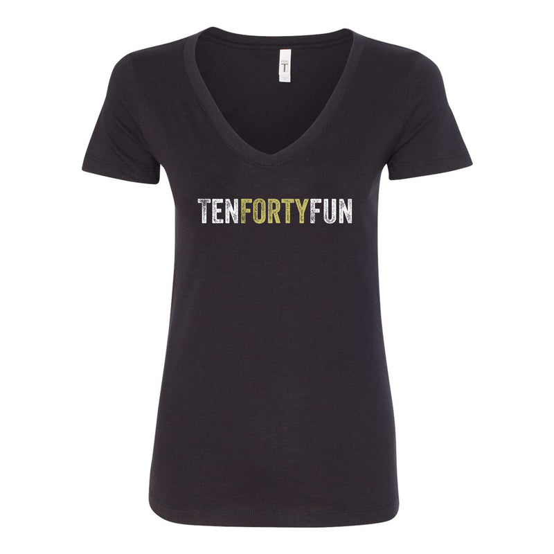 Ten Forty Fun Logo V-neck Ladies T-shirt - Black