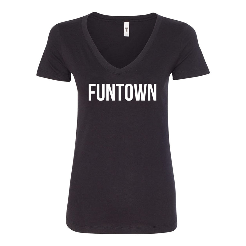 Funtown Center Chest Logo V-neck Ladies T-shirt - Black