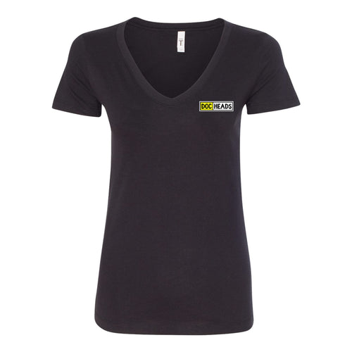 DocHeads Left Chest Logo V-neck Ladies T-shirt - Black