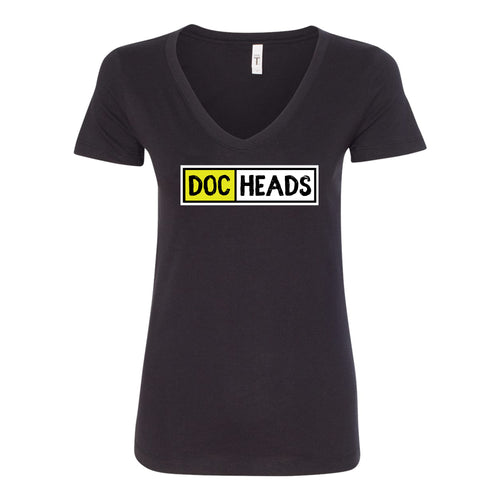 DocHeads Center Chest Logo V-neck Ladies T-shirt - Black