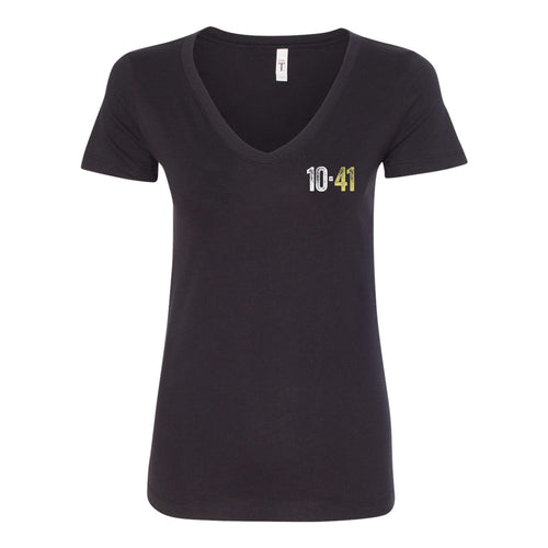 10-41 Left Chest Logo V-neck Ladies T-shirt - Black