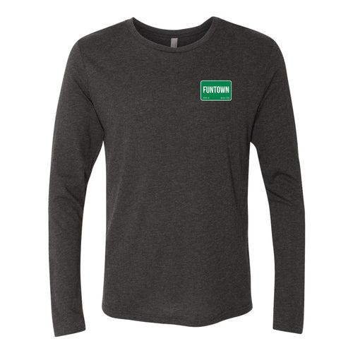 Funtown Left Chest Logo Longsleeve Triblend T-shirt - Black