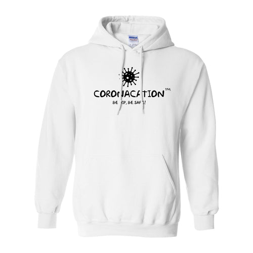 Coronacation Black Logo Fleece Hoodie - White