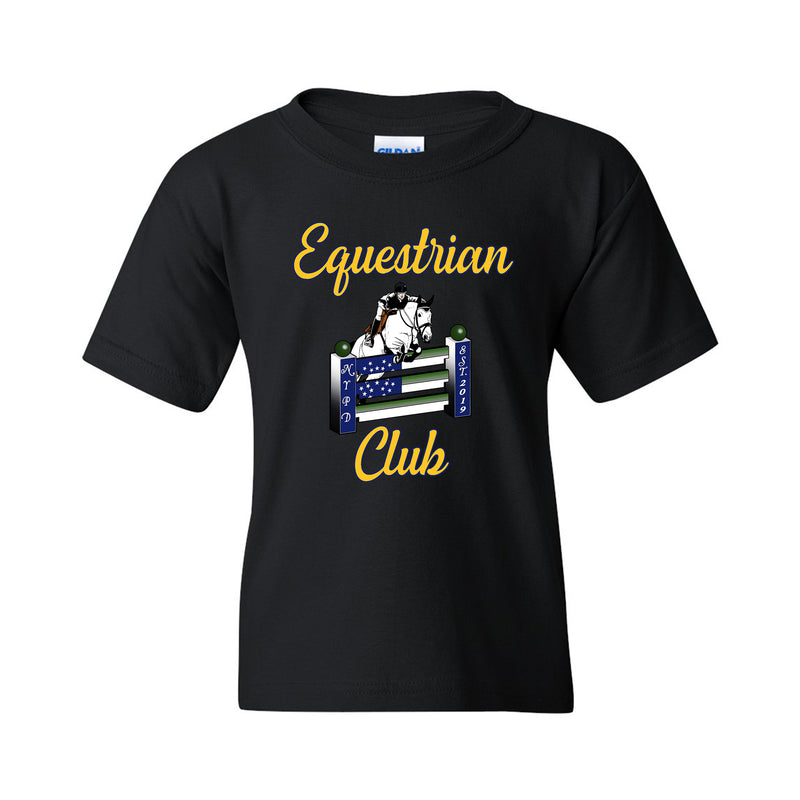 NYPD Equestrian Logo Youth T-shirt Front Only - Black