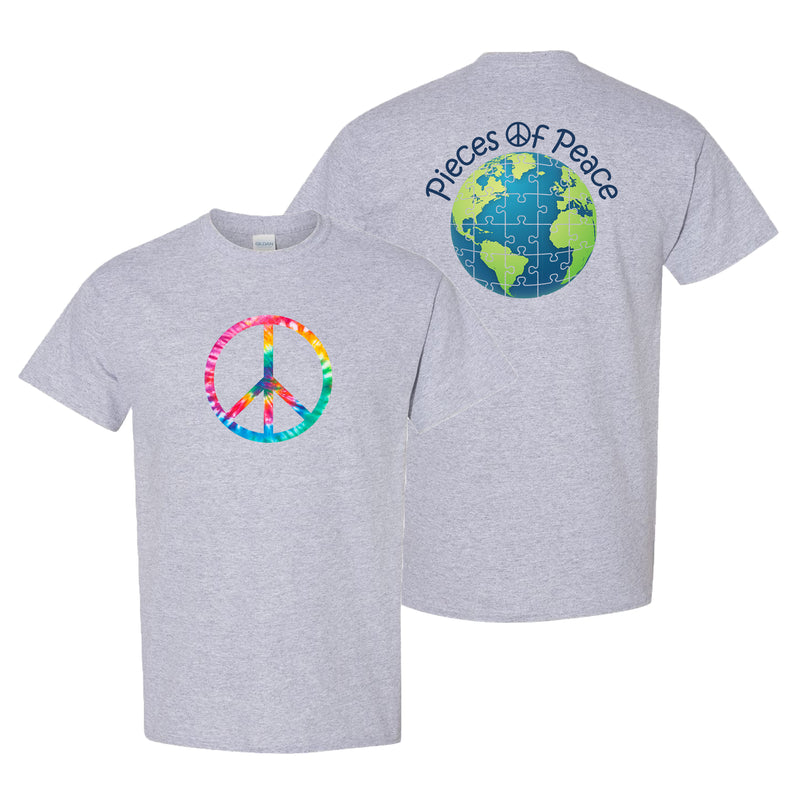 Tie-Dye Peace Sign Unisex T-shirt - Sport Grey