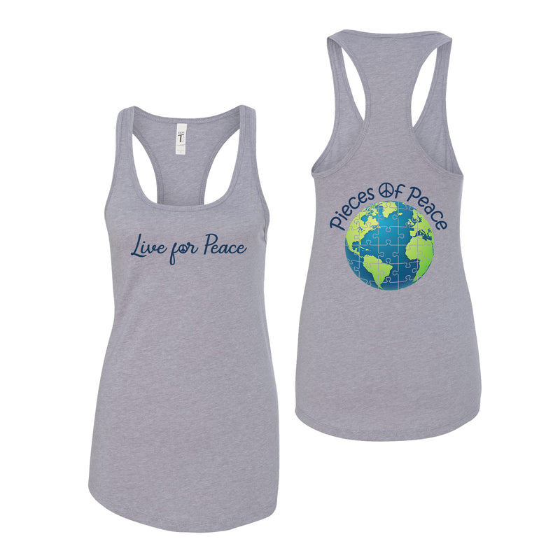 Live For Peace Racerback Tank Top - Grey