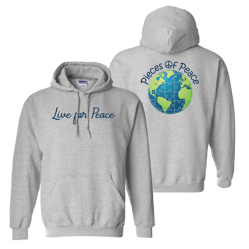 Live For Peace Heavy Cotton Hoodie - Grey