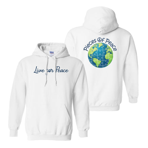 Live For Peace Heavy Cotton Hoodie - White