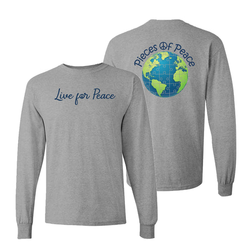 Live For Peace Unisex Long-Sleeve T-shirt - Grey