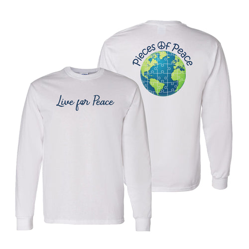 Live For Peace Unisex Long-Sleeve T-shirt - White