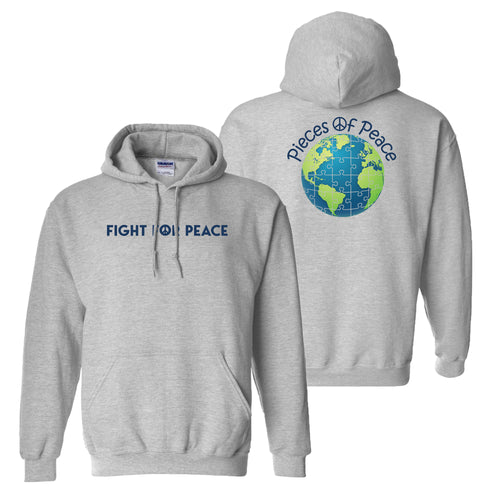 Fight For Peace Heavy Cotton Hoodie - Grey