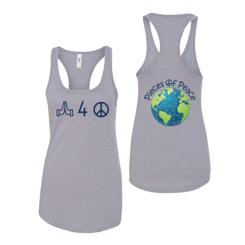 Pray For Peace Racerback Tank Top - Grey