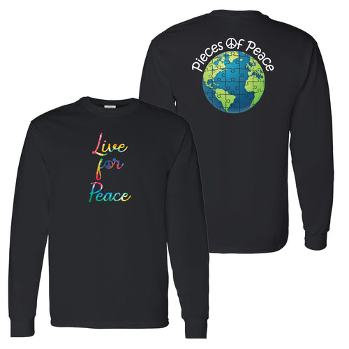 Live For Peace Script Unisex Long-Sleeve T-shirt - Black