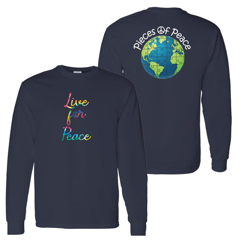 Live For Peace Script Unisex Long-Sleeve T-shirt - Navy