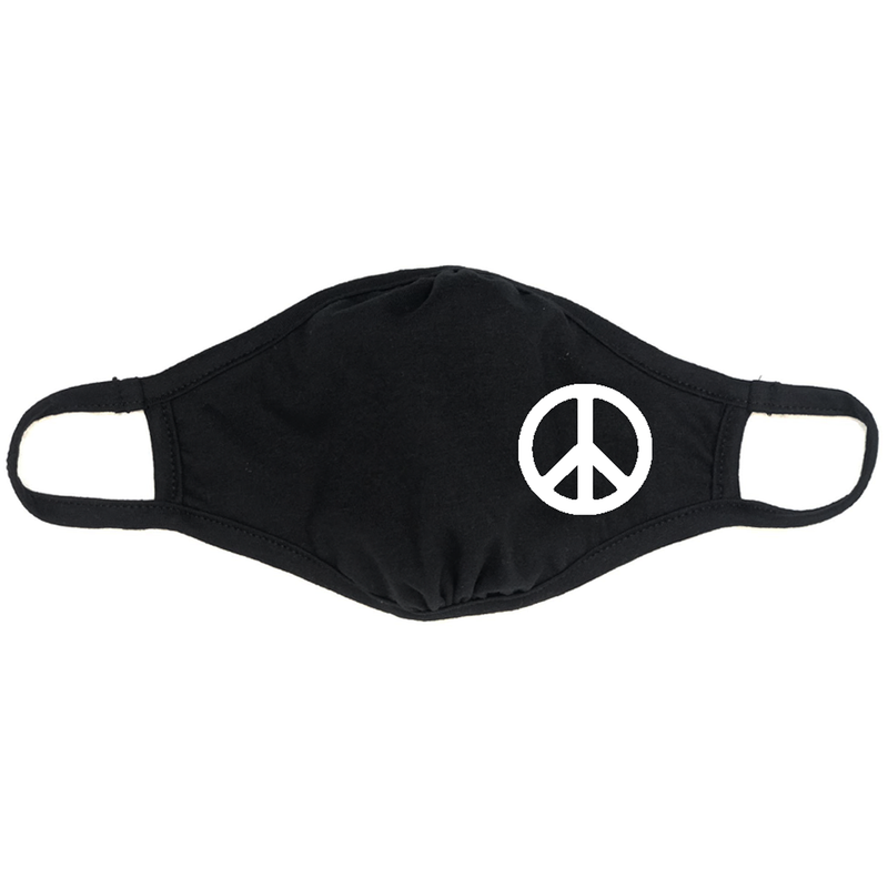 Adult Peace Sign Cloth Face Mask Two Pack - Black