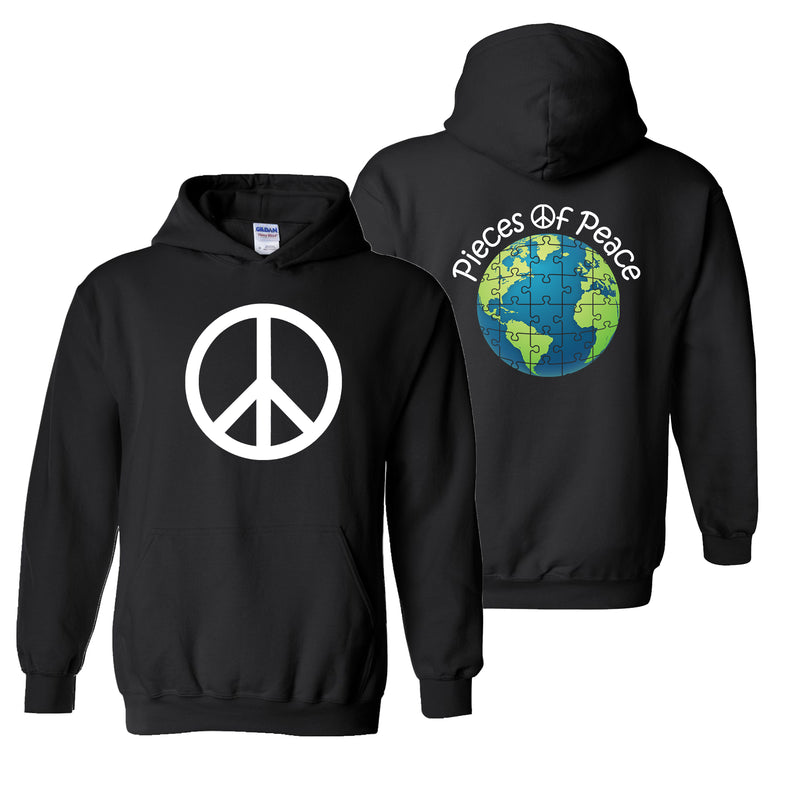 Peace Sign Heavy Cotton Hoodie - Black