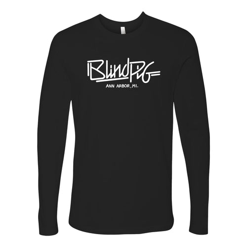 Blind Pig Typeface 1 Next Level Cotton Long Sleeve T Shirt - Black