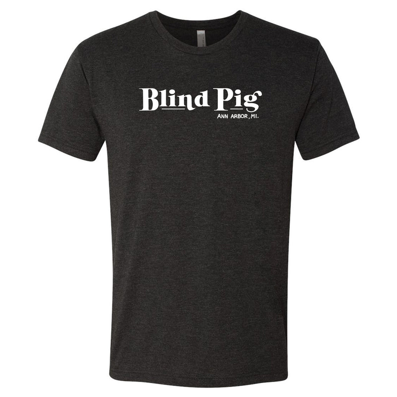 Blind Pig Typeface 2 Triblend Short Sleeve T Shirt - Vintage Black